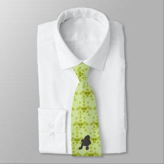 Miniature Poodle - Green Leaves Design Neck Tie