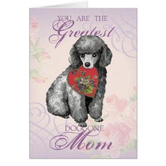 Miniature Poodle Heart Mom Card