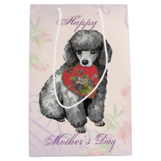 Miniature Poodle Heart Mom Medium Gift Bag