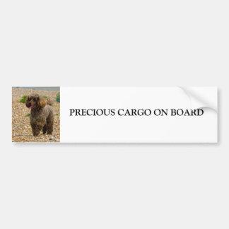 Miniature Poodle on board custom bumper sticker