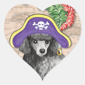 Miniature Poodle Pirate Heart Sticker