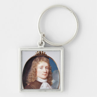 Miniature portrait of an Unknown Man, 1659 Silver-Colored Square Keychain