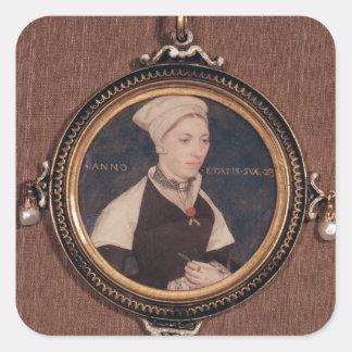 Miniature portrait of Jane Small Square Sticker
