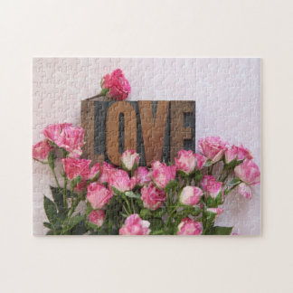 Miniature roses with love word jigsaw puzzle