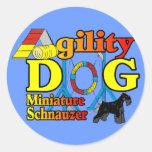 Miniature_Schnauzer_Agility Round Sticker