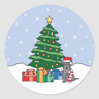 Miniature Schnauzer and Christmas Tree Round Stickers