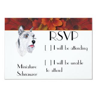 "Miniature Schnauzer - Autumn Floral Design 3.5"" X 5"" Invitation Card"