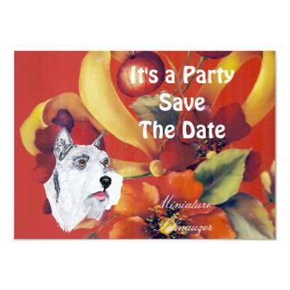 "Miniature Schnauzer - Autumn Floral Design 4.5"" X 6.25"" Invitation Card"
