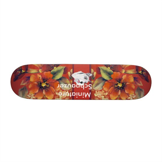 Miniature Schnauzer - Autumn Floral Design Skateboard Deck