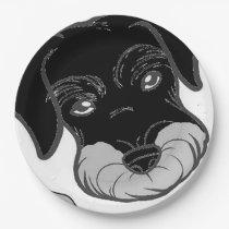 miniature schnauzer black and silver peeking paper plate