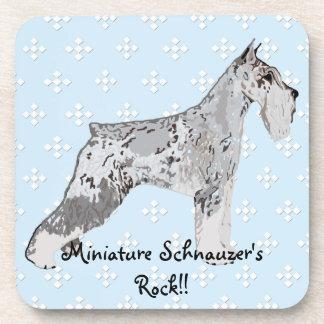 Miniature Schnauzer - Blue w/ White Diamond Design Beverage Coaster