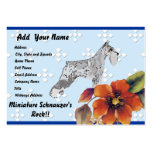 Miniature Schnauzer - Blue w/ White Diamond Design Large Business Cards (Pack Of 100)