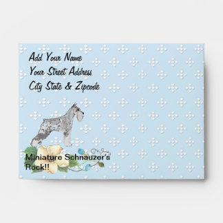 Miniature Schnauzer - Blue w/ White Diamond Design Envelopes