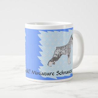 Miniature Schnauzer - Blue w/ White Diamond Design Large Coffee Mug