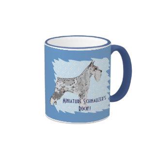 Miniature Schnauzer - Blue w/ White Diamond Design Coffee Mugs