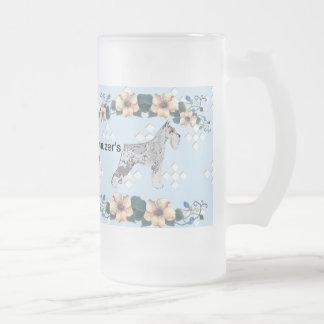 Miniature Schnauzer - Blue w/ White Diamond Design Coffee Mug