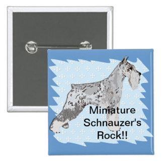 Miniature Schnauzer - Blue w/ White Diamond Design Pinback Button