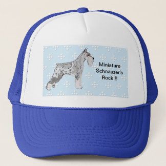 Miniature Schnauzer - Blue w/ White Diamond Design Trucker Hat