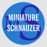 Miniature Schnauzer Breed Monogram Design Classic Round Sticker