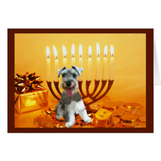 Miniature Schnauzer Chanukah Card Menorah