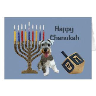 Miniature Schnauzer Chanukah Card Menorah Dreidel
