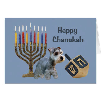 Miniature Schnauzer Chanukah Card Menorah Dreidel