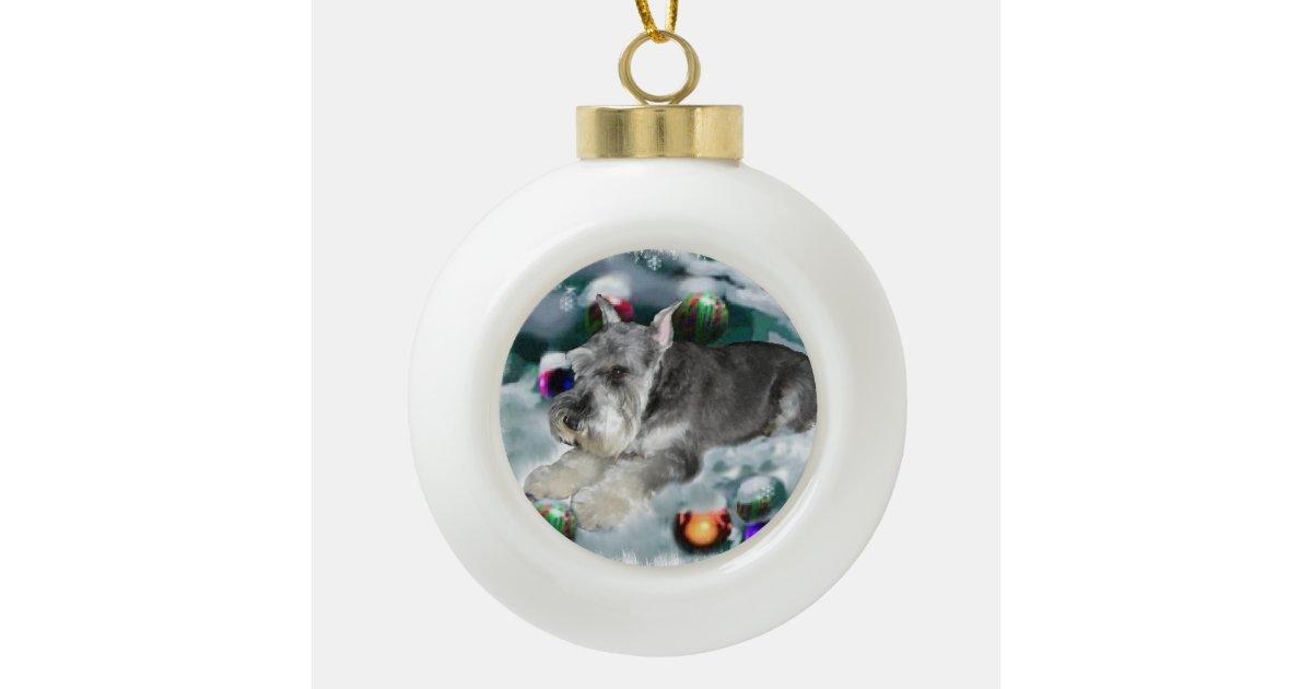Miniature Schnauzer Christmas Ceramic Ball Christmas ...