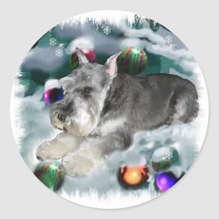 Miniature Schnauzer Christmas Gifts Classic Round Sticker