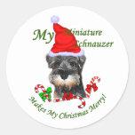 Miniature Schnauzer Christmas Gifts Round Stickers