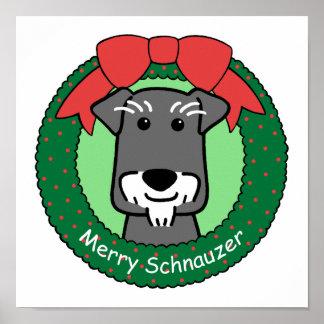 Miniature Schnauzer Christmas Poster
