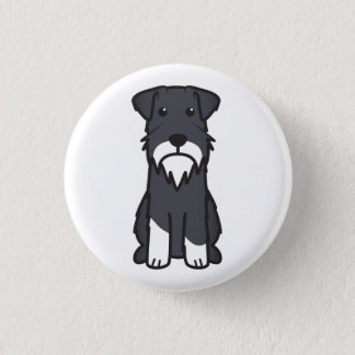 Miniature Schnauzer Dog Cartoon Button