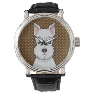 Miniature Schnauzer Dog Cartoon Paws Wristwatch