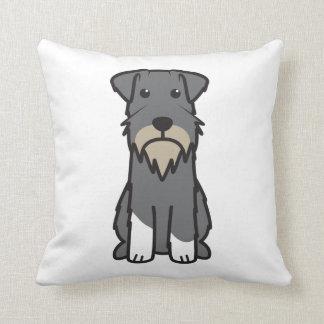 Miniature Schnauzer Dog Cartoon Throw Pillows