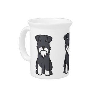 Miniature Schnauzer Dog Cartoon Drink Pitcher