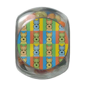 Miniature Schnauzer Dog Cartoon Pop-Art Glass Candy Jar