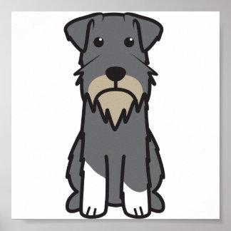 Miniature Schnauzer Dog Cartoon Poster