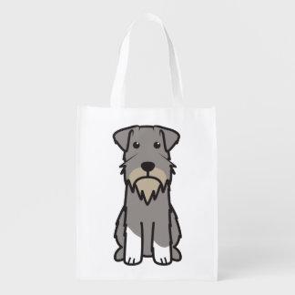 Miniature Schnauzer Dog Cartoon Reusable Grocery Bags
