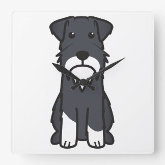 Miniature Schnauzer Dog Cartoon Square Wall Clock