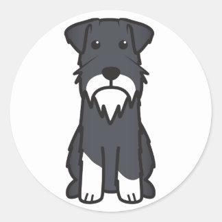 Miniature Schnauzer Dog Cartoon Round Stickers