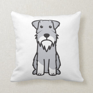 Miniature Schnauzer Dog Cartoon Throw Pillow
