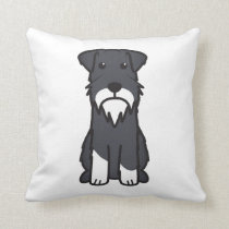 Miniature Schnauzer Dog Cartoon Throw Pillow