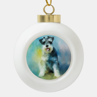 Miniature Schnauzer Dog Water Color Art Painting Ceramic Ball Christmas Ornament