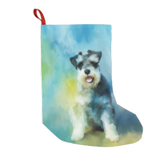 Miniature Schnauzer Dog Water Color Art Painting Small Christmas Stocking