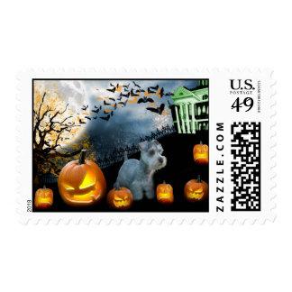 Miniature Schnauzer Halloween Postage Stamp
