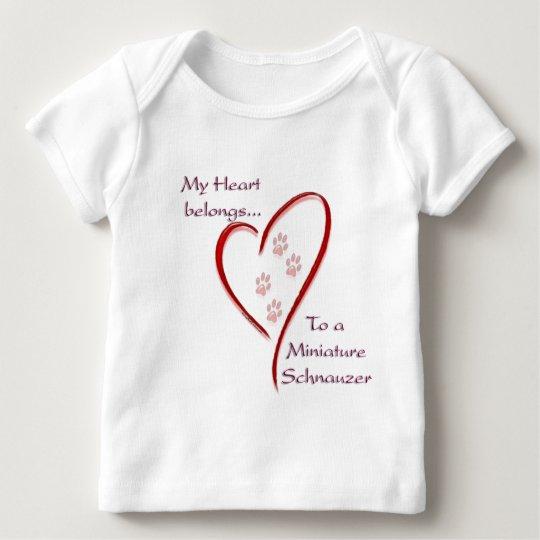 Miniature Schnauzer Heart Belongs Baby T-Shirt