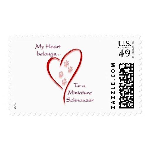 Miniature Schnauzer Heart Belongs Postage Stamps