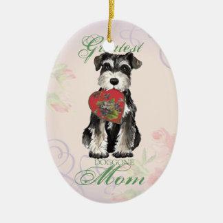 MIniature Schnauzer Heart Mom Ceramic Ornament