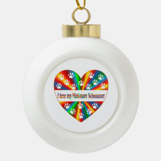 Miniature Schnauzer Love Ceramic Ball Christmas Ornament