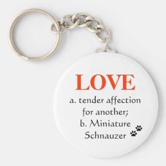 Miniature Schnauzer Love Key Chain