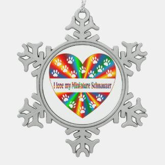 Miniature Schnauzer Love Snowflake Pewter Christmas Ornament